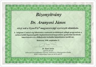 Dr. Aranyosi János debreceni nőgyógyász oklevele a Mirena gyakorlati ismereteinek megszerzéséről