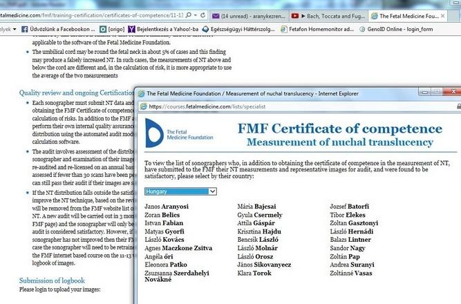 FMF - Fetal Medicine Foundation - Dr. Aranyosi János, ultrahang, Debrecen